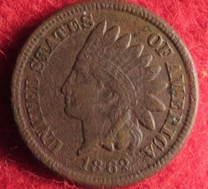 Indian Head Cent Dated 1862