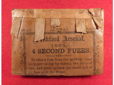 Frankford Arsenal 1863 Four Second Fuze Pack - Actual Pack Pictured in Jones Fuze Book