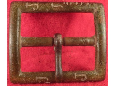 1902 US Army Garrison Belt Buckle with Carved Initials & Notches