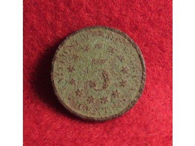 "Five Cent ""Shield Nickel"" Dated 1868"