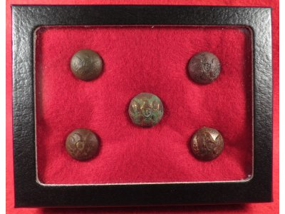 Five Federal Cuff Buttons - Artillery, Cavalry, Dragoon, Infantry, Rifleman