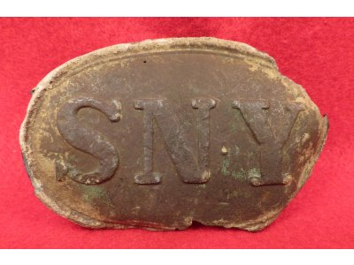 "State of New York ""SNY"" Belt Buckle - Recovered Manassas 1960"