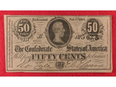 Confederate Fifty Cent Note