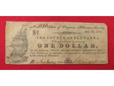 County of Fluvanna, VA One Dollar Note - Dated 1862