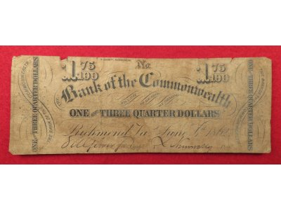 "Bank of the Commonwealth ""One and Three Quarter Dollars"" Note - Dated 1862"