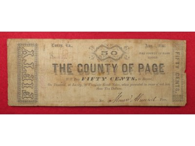 County of Page, VA Fifty Cent Note - Dated 1861 - RARE
