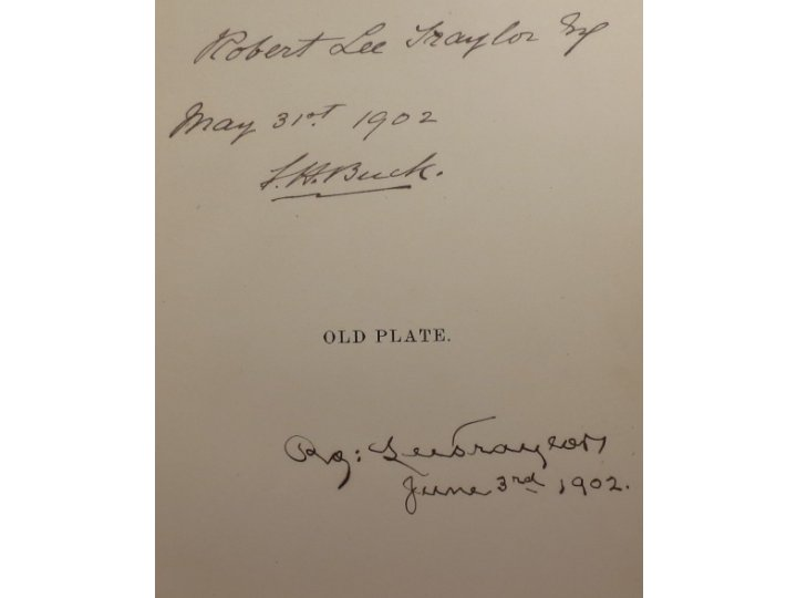 """Old Plate"" by J. H. Buck -  Very Rare Signed 1888 First Edition"