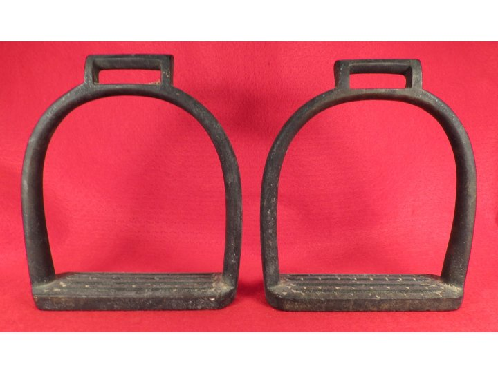 "Brass Artillery Stirrups Marked ""US"" / ""Watervliet Arsenal NY"" / ""P.V.H."""