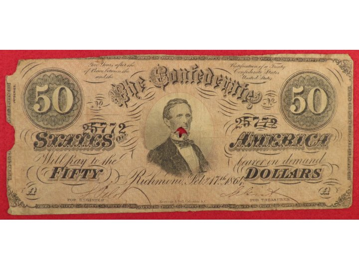 Confederate Fifty Dollar Note