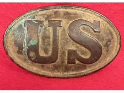 "US Cartridge Box Plate - ""M . HILL / BATTERY D / P . V . A"""