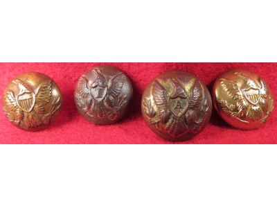 Four US Coat Buttons - Artillery, Infantry, & General Service