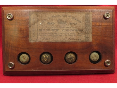 Confederate Note & Federal Button Display