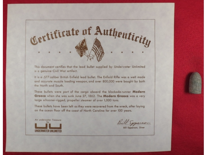 "Confederate Enfield Bullet from Blockade Runner ""Modern Greece"" - Certificate Included"