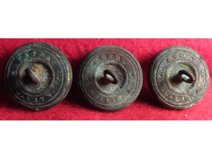 Three Federal Infantry Overcoat Size Buttons