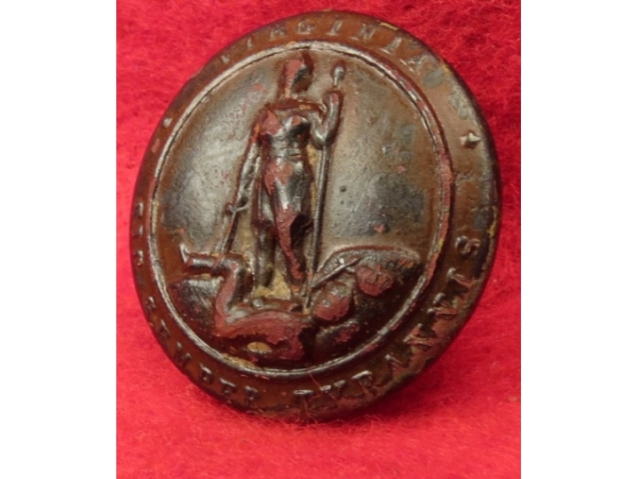 Virginia State Seal Button - Post Civil War
