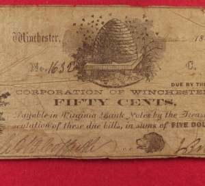 Virginia Currency, Corporation of Winchester, Winchester, VA., Fifty Cent Note